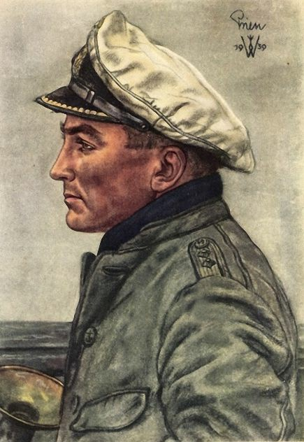 Günter Prien. A patriotic propaganda postcard painted by war artist Wolfgang Willrich  (Authors collection)